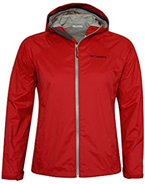 Men Whisper Ridge Packable Omni-Tech Hooded Rain Jacket RED