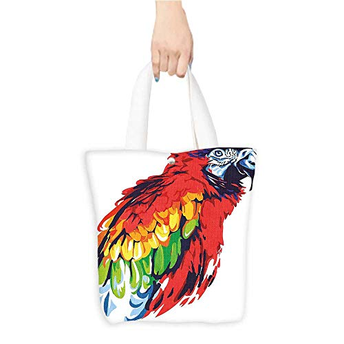 Packable Shopping Bag Animal Exotic Parrot Bird in Vibrant Tones Wildlife Tropical Wings Artistic Illustration Multicolor (W15.75 x L17.71 Inch)