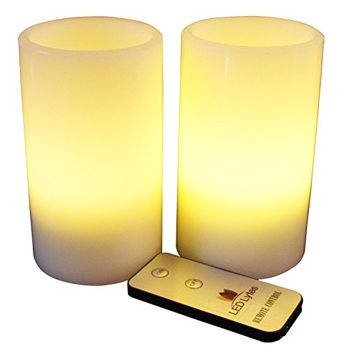 LED Lytes Flameless Candles, Battery Operated Pillars w/Remote Set of 2 Ivory Wax and Soft Pale Yellow (Large Outdoor Halloween Decorations)