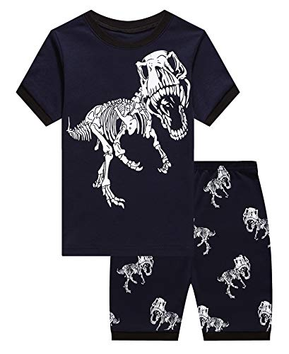 KikizYe Little Boys Dinosaur Summer Pajamas Short Sets 100% Cotton Kid 7