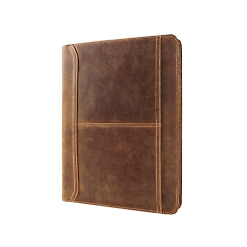 Hifriend Handmade Padfolio, Crazy-Horse Leather Portfolio with Zipper, Multi-function Business case for Men/Adult,Engraved Custom Monogrammed,Business Organizer for ipad pro 9.7inch ,Brown