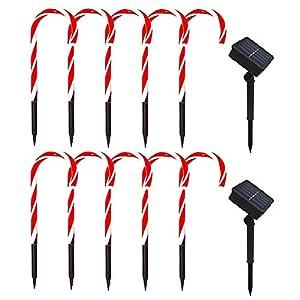 Amusingtao - Set di 2 luci a forma di bastoncino di Natale, a energia solare, luci da giardino, luci a LED, luci da terrazza, patio, percorso, giardino, decorazione per vacanze, feste di Natale 6 spesavip