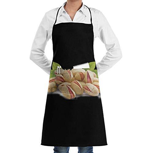 (sretinez Adjustable Pistachio Printed Kitchen Bib Apron Chef's Aprons with Pockets for Women Men)