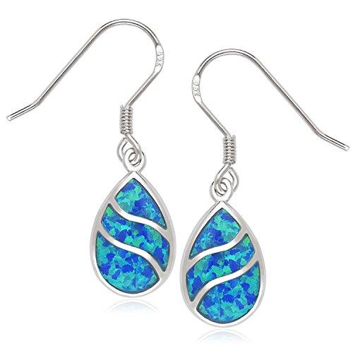 Beaux Bijoux 925 Sterling Silver Created Blue Opal or Abalone Wave Design Teardrop Earrings
