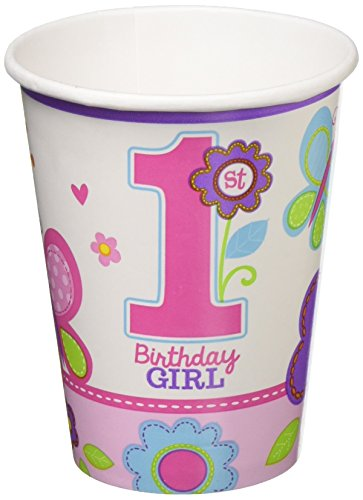 Paper Cups | 1st Birthday Girl | Flowers and Butterflies Collection | 216 Ct.