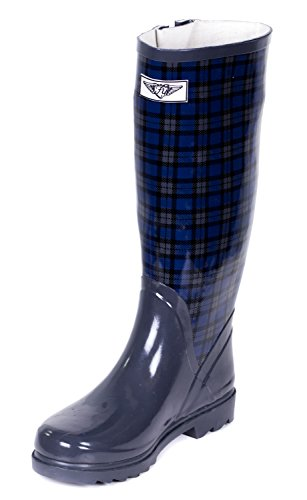 Young Wellie Plaid Boot Forever Womens Blue Rain Green gzHwwdxq