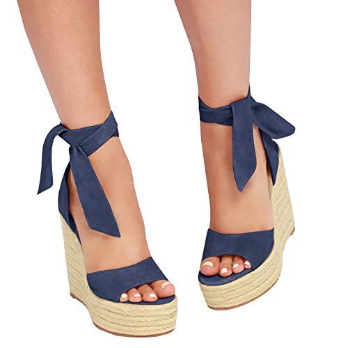 Syktkmx Womens Platform Wedge Espadrille Lace Up Peep Toe Slingback D'Orsay Heeled Sandals
