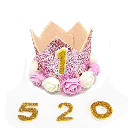 KINDPMA Crown Dog Birthday Hat Reusable Cute Dog Birthday Party Crown with Gold Glitter 0-9 Figures and Flowers Accessories for Small Medium Dogs Cats Pets -