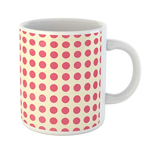 (Semtomn Funny Coffee Mug Pink Abstract Polka Dot Pattern Amaranth Baby Carmine Children 11 Oz Ceramic Coffee Mugs Tea Cup Best Gift Or Souvenir )