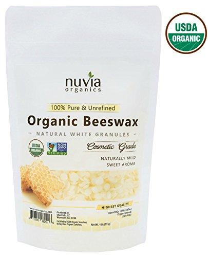 Nuvia Organics White Beeswax, USDA Certified Organic & Non-GMO Verified; 4 Oz ()