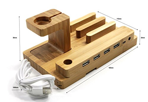 Hub Wood (ATECH Premium Bamboo 4in1 USB Charger Station w/4x USB Port Wooden Charging Dock Display Holder Micro USB Hub Charging Stand Charger Cradle for Apple Watch iPhone iPad Tabs & Smartphones)