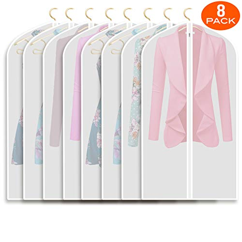 Refrze Moth Proof Garment Bags,Garment Cover,8 Pack Clear Garment Bags,Hanging Garment Bag, Dress Dance Garment Bags for Storage or for Travel,Breathable Dust and Waterproof Garment Protector Covers (Garment Closet Bag)