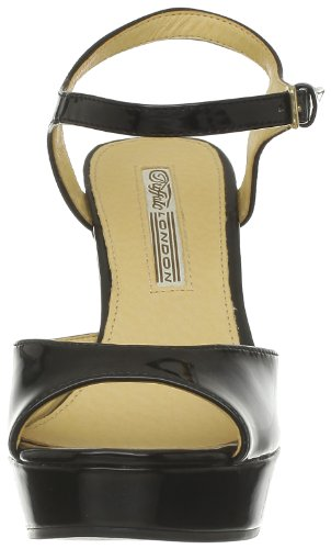 Buffalo London 312-4468 PATENT PU 143018 - Zapatos de pulsera para mujer Negro (Schwarz (Black 01))