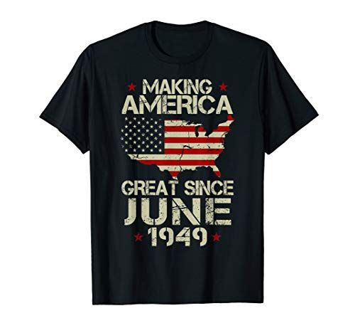 Mens June 1949 Shirt 70 Years Old 70th Birthday Gift 1949 Yrs Tee