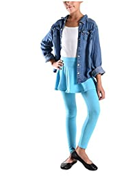 Girls Solid Color Cotton-Spandax Skirted Leggings