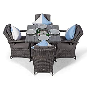Arizona Rattan Dining Set Square 4 Seater Grey Rattan Table & Chairs Set with Ice Bucket Drinks Cooler | Outdoor Poly Rattan Garden Dining Furniture Set with Parasol & Cover