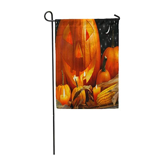 Tarolo Decoration Flag Colorful Halloween Carved Pumpkin Candles and Corn Orange Festive Harvest Moon Fall Thick Fabric Double Sided Home Garden Flag 12
