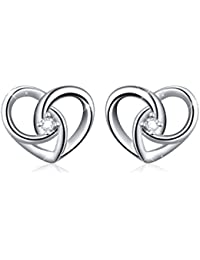 "925 Sterling Silver Jewelry""I Love You To The Moon and Back"" Love Heart Earrings"