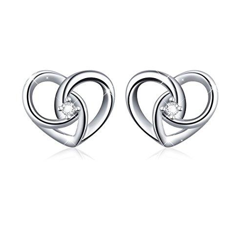 Earrings Sterling Heart - 925 Sterling Silver Jewelry