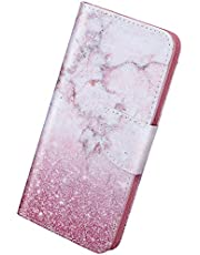 Herbests Compatibel met Samsung Galaxy A40 Case Siliconen Premium Lederen Portemonnee Slanke Case met Kickstand, Kaartsleuven, Magnetische Sluiting, Flip Notebook Geschilderd Schilderij Cover Case, Marmer
