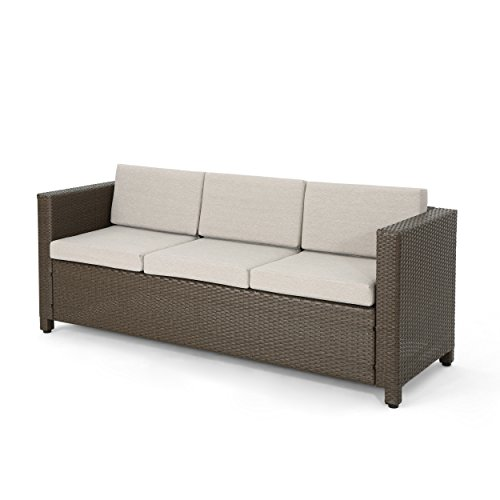 Christopher Knight Home Cony Outdoor Wicker 3 Seater Sofa, Brown with Ceramic Grey Cushions