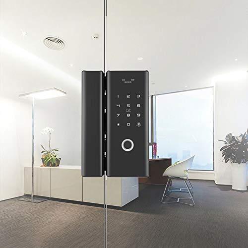 Upgrade Electric Fingerprint Touchscreen Door Lock,Digital Password Lock,Smart Card Unlock, Bluetooth APP Remote Control Facility Security Anti-Theft Lock for Office and Home,C