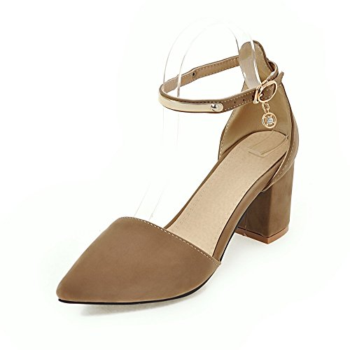 Fashion Heel Moda Puntiagudos Zapatos de Tacón Grueso con Correa de Tobillo con Tamaño Grande para Mujer Beige