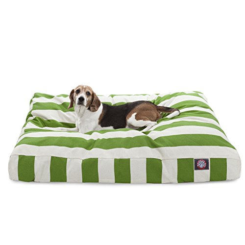 Sage Vertical Stripe Large Rectangle Indoor Outdoor Pet Dog Bed With Removable Washable Cover By Majestic Pet Products