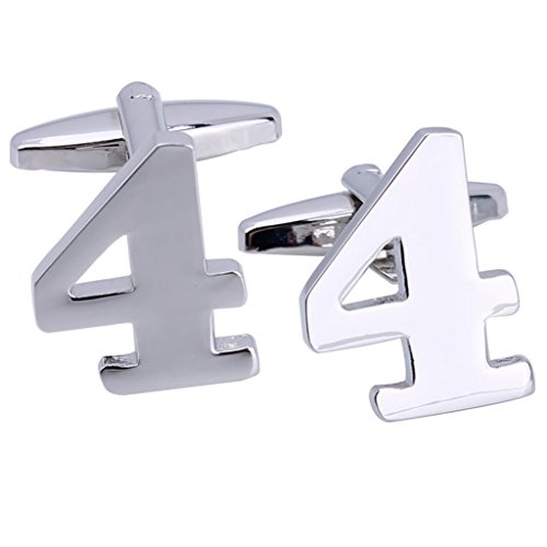 MoAndy Silver Plated Men Cuff Links the Arabic Numeral Cufflinks Number 4,Silver