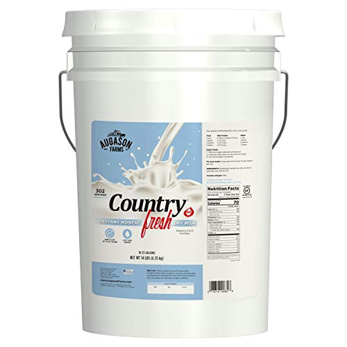Augason Farms Country Fresh 100% Real Instant Nonfat Dry Milk Emergency Food Storage 14 Pound Pail (Best Dry Food For Emergency)