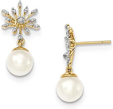 14k Diamond and 7-8mm Round FW Cultured Pearl Flower Post Earrings, 14 kt Yellow Gold