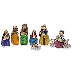 Set of 9 Hand Painted Nativity Scene Set Figurines