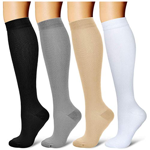 4 Piars Compression Socks for Women Men 20-30 mmHg Best Graduated Athletic Running Flight Travel Nurses (Black+Grey+White+Nude, Large/X-Large)