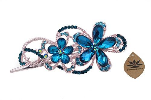 Journey Diamond Jewelers (Totoroforet Geminate Flower Vintage/ Retro Style Bronze Rhinestone Hair Clip/ Claw/Barrette Large Size (Sapphire Blue and rose gold)