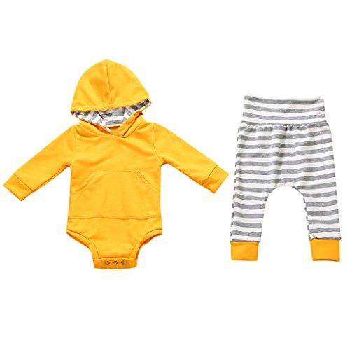 MagiDeal Sudadera con Capucha Pantalones Set para Niño Niñas Recién Nacido Bueno para Regalo de Navidad - Amarillo-0-6 meses