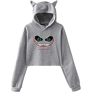 engzhoushi Women Sweatshirt Pullover Hoodie, Cat Ear Hoodie Sweater Women S Cheshire Cat Lumbar Sweatshirt Hooded
