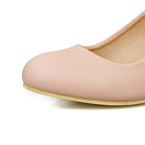 VogueZone009 Women's Kitten-Heels Soft Material Solid Buckle Round Closed Toe Pumps-Shoes Pink fwaQ36y9X3