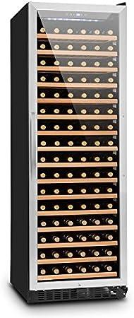 Klarstein Botella 450 - Nevera para vinos, 428 litros, Para 166 botellas de vino, Panel táctil, Indicador de temperatura, Iluminación LED, 16 estantes de madera, Puerta de vidrio, Plateado[Clase de eficiencia energética G]