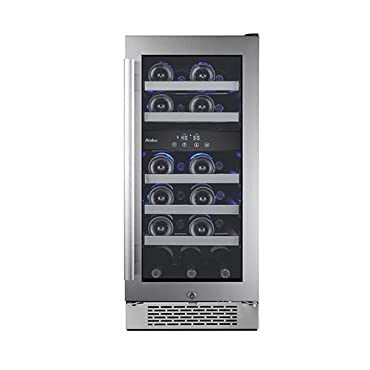 Avallon AWC151DZRH 15 Inch Wide 23 Bottle Capacity Dual Zone Wine Cooler with Ri