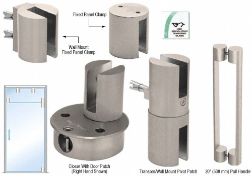 Brushed Nickel Beretta RH Self Closing Door Kit for Use With Fixed Transom With 20'' Handle by CR Laurence