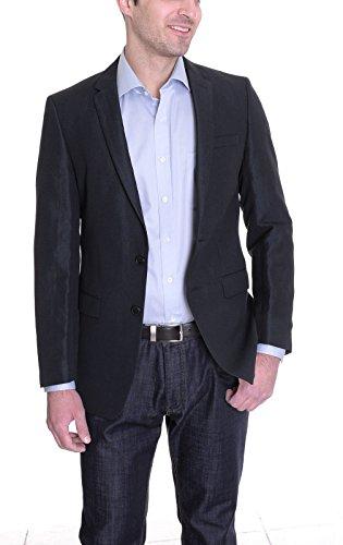 Dkny Black Wool Blend - DKNY TRIM FIT BLACK TEXTURED WOOL BLEND BLAZER 38S