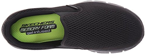 Skechers Equalizer Double Play Black Mens Slip Ons Trainers Shoes-7