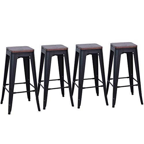 DeKea 30 Inch Bar Stools with Wooden Top Counter Height Metal Stool [Set of 4] for Kitchen or Indoor/Outdoor Barstools, Matte Black