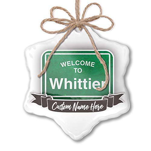 Whittier Hanging - NEONBLOND Create Your Ornament Green Road Sign Welcome to Whittier Personalized