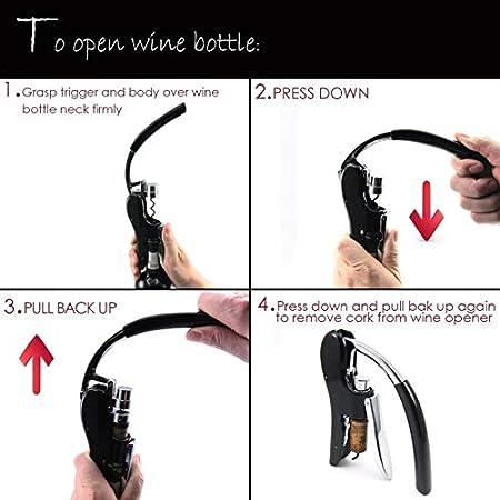 Abre de botella con abrelatas de vino Palanca de conejo Tire de sacacorchos para el abridor de botellas de buques de camarero con cortador de lámina incorporado (Color : Black)