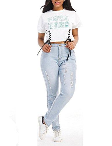 light blue colored jeans - 2