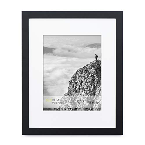 12x16 Black Picture Frame - Matted for 8x12 Photo, Frames by EcoHome