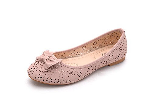 Shoes Laser W Ballerlina Cut Dina2 Perforated Mila Chic Pink Lady Bow Flats qCw0EE