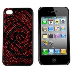 Rhinestone Hard Plastic Back Case Cover for iPhone 4 Red-black Rose
