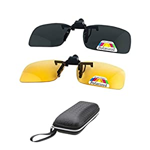 2 Pairs Sunglasses Clip On Flip Up Night Vision Glasses Anti Glare Polarized for Men Women UV400 Best for Driving Golf Shooting Fishing Hunting Outdoor Sports